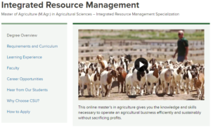 Screen shot form the Integrated Resource Management Web page