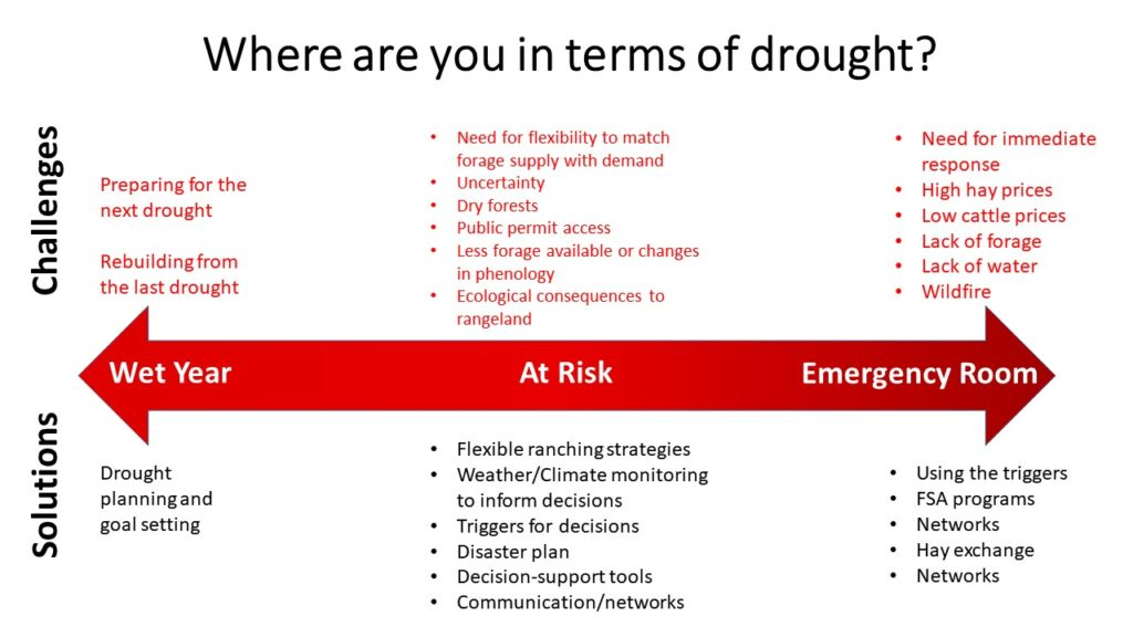 "Graphic of responding to drought depending on where you area - wet year, at risk, or in the ""emergency room"""