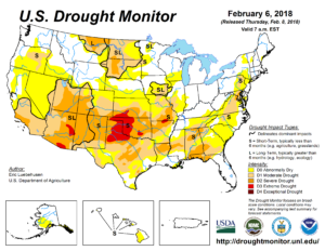 A map of the US Drought Monitor showing drought in the southwestern US
