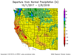 A map of the western US showing departure from normal precipitation since Oct 1, 2017. Southwest Colorado is 4-8 inches below normal.